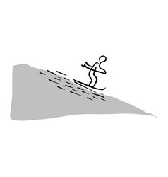 man skiing sliding from the mountain vector image