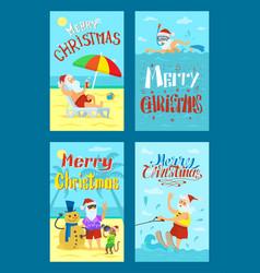merry christmas santa claus making photo snowman vector image