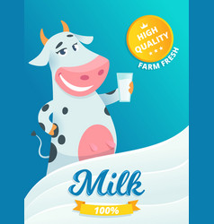 Milk advertizing smiling cow standing with glass vector