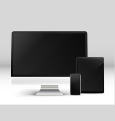 modern personal computer and other gadgets on a vector image