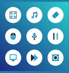 multimedia icons colored set with speaker pause vector image