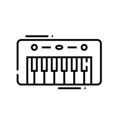 Musical keyboard line icon concept sign outline vector
