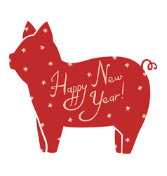 New year cute stylized picture of pig symbol of vector