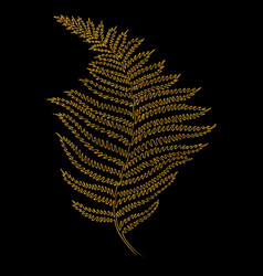 one line fern isolated on black background vector image