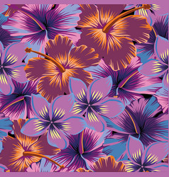Plumeria hibiscus abstract color seamless vector