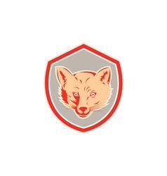 Red fox head front shield retro vector