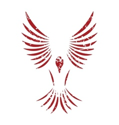 Red grunge bird logo vector image