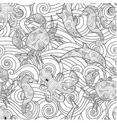 Serene hand drawn outline seamless pattern with vector