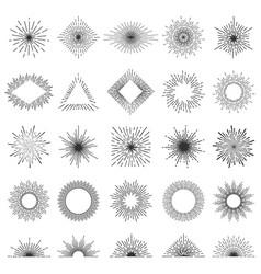 Set 25 line light rays sunburst vector