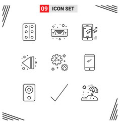Set 9 modern ui icons symbols signs for space vector