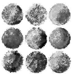 Set abstract halftone black circles vector