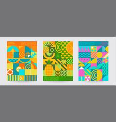 set geometric sumer backgrounds vector image