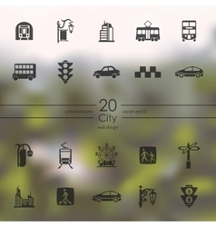 Set of city icons vector image