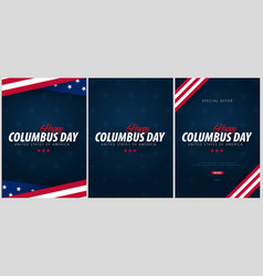 set of columbus day sale promotion advertising vector image