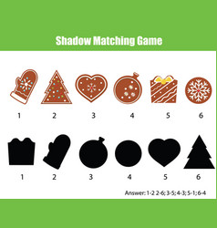 Shadow matching game kids activity with new year vector