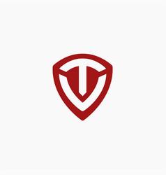 shield letter tv logo letter vt logo icon vector image
