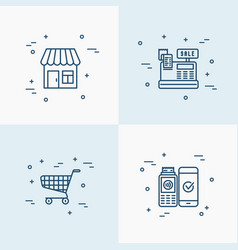 shopping set with thin line icons vector image