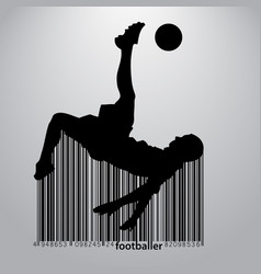 silhouette of a football player and barcode vector image