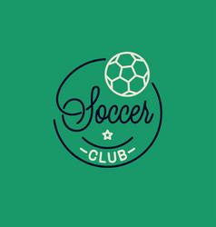 soccer club logo round linear logo soccer ball vector image