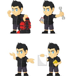 Spiky Rocker Boy Customizable Mascot 11 vector image