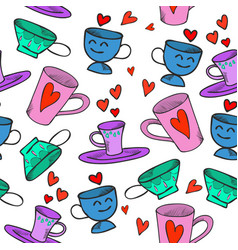 tea cups seamless colored pattern with hearts vector image