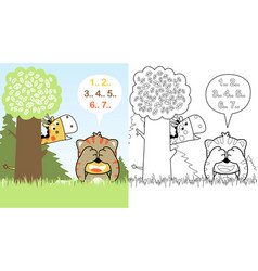 Tiger and giraffe playing hide and seek cartoon vector