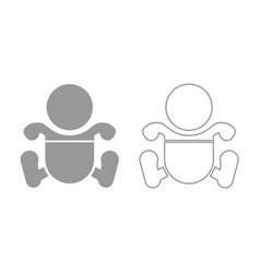 toddler boy with diapers icon grey set vector image