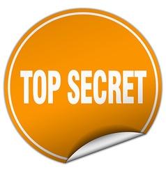 Top secret round orange sticker isolated on white vector