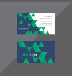 Trilateral business card in midnight blue and vector