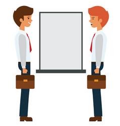 two businessmen talking near presentation board vector image