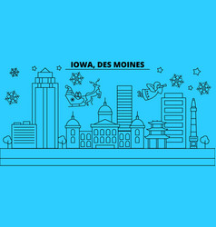 United states des moines winter holidays skyline vector