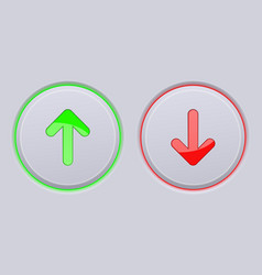 Up and down round gray buttons with green and red vector