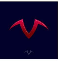V letter with horns like bull head taurus logo vector