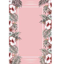 vertical tropical frame pink background vector image