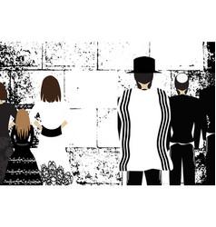 western jerusalem wailing wall religious jewish vector image