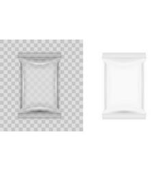 white blank transparent food snack sachet bag vector image