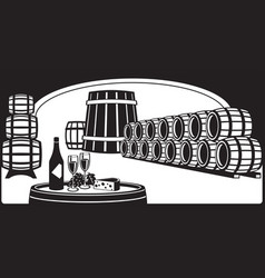 Wine cellar with a tasting plate vector