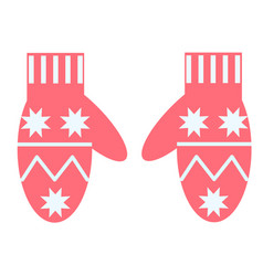 Winter mittens flat on white vector