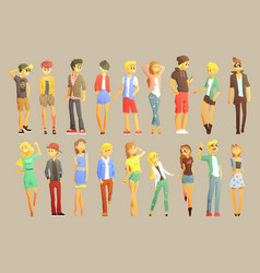 young stylishly dressed people vector image