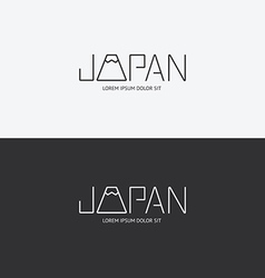 alphabet japan design concept with flat sign vector image