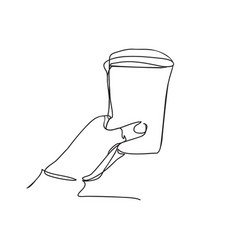 background with hand holding plastic cup of vector image