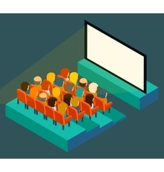 Empty cinema screen with audience Isometric in vector image