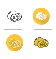 Lemon flat design linear and color icons set vector image vector image