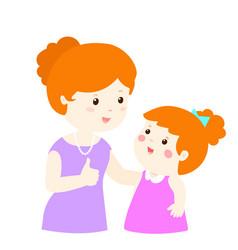 mother admire daughter character cartoon vector image