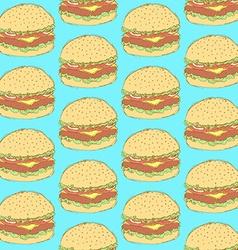 Sketch tasty hamburger in vintage style vector image