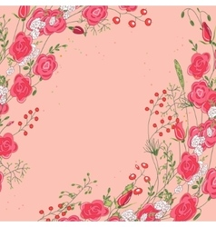 Backdrop with roses and herbs red and pink color vector