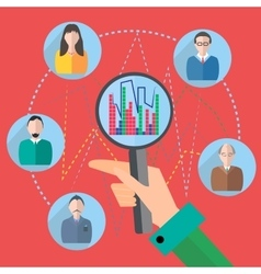 Icon magnifier people graph vector image