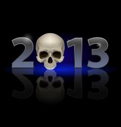 twenty thirteen year skull on black background vector image vector image