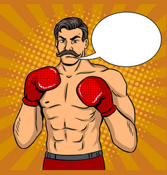 vintage boxer fighter with mustache pop art vector image