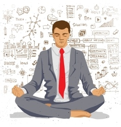 Businessman meditating with background of social vector image